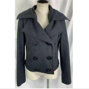 New York And Company Gray Wool Blend Pea Coat Sz 6